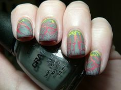 """I like this gray Crackle on a red, orange, & yellow base....""""Fun with Essence and Crackle""""...nail polish"""