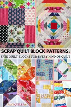 9 Scrap Quilt Block Patterns: Free Quilt Blocks for Every Kind of Quilt #scrapbusting #quilting Quilting Tutorials, Quilting Projects, Quilting Designs, Quilt Design, Quilting Ideas, Sewing Projects, Scrap Quilt Patterns, Pattern Blocks, Softies