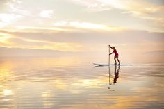 Caroline Gleich paddle boarding at sunset