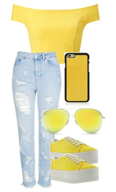 yellow mellow by cristhings on Polyvore featuring Miss Selfridge, Topshop, Jeffrey Campbell, Vianel and Victoria Beckham