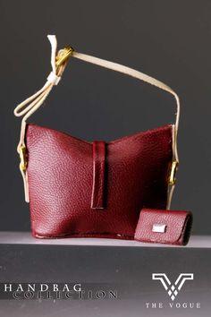 The Vogue Dark Rose Leather Hobo Handbag with Purse for Barbie