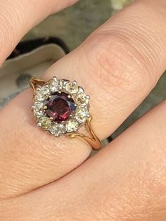 Antique Large Diamond And Garnet Cluster Ring Band Yellow Gold Flower Design Opal And Sapphire Ring, Moonstone Ring, Diamond Art, Diamond Cluster Ring, Stone Rings, Band Rings, Marcasite Ring, Garnet Rings, Gold Flowers