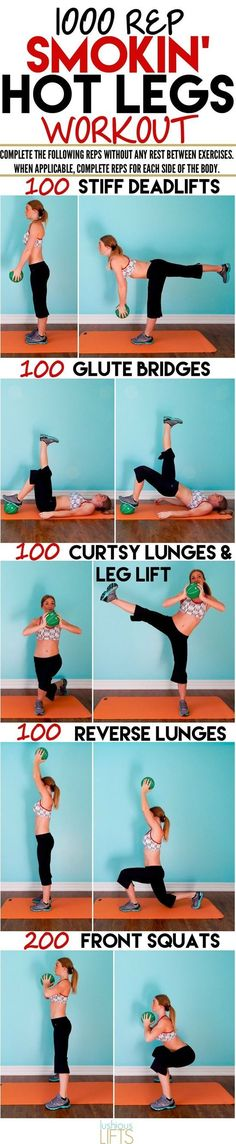 1000 rep smokin' hot legs workout-This is the kind of workout that you see and think will be so hard, so you give it a try, and then realize that it is really hard and wonder what the hell were you ev (Fitness Routine Training Programs) Lower Ab Workouts, Fitness Workouts, Fitness Diet, At Home Workouts, Health Fitness, Health Diet, Leg Workout Plan, Butt Workout, Free Workout