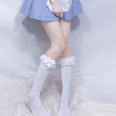[leggycozy] Japanese Kawaii Cute Lace Trim Bowknot Knee High Stockings Knee High Stockings, Kawaii Cute, Lace Trim, Ballet Skirt, Slim, Japanese, Black And White, Skirts, Fashion