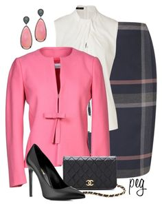 Pink in Winter by derniers on Polyvore featuring мода, Etro, RED Valentino, CC, Yves Saint Laurent, WGACA and Madison Precious Jewels