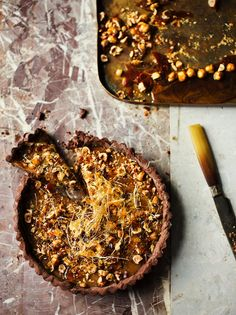 This Chocolate and caramel tart with hazelnuts is a delicious decadent treat, and an impressive dessert to show off your skills to friends and family. Chocolate Caramel Tart, Salted Caramel Cake, Chocolate Caramels, Chocolate Recipes, Chocolate Cheesecake, Cheesecakes, Tart Recipes, Dessert Recipes, Jamie's Recipes