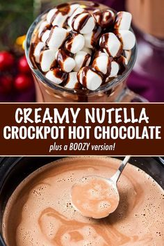 Creamy Nutella Crockpot Hot Chocolate – The Chunky Chef Make creamy hot chocolate for the whole party, right in your slow cooker! This hot chocolate is made with plenty of nutella for a creamy hazelnut drink that's absolutely amazing! Nutella Hot Chocolate, Crockpot Hot Chocolate, Hot Chocolate Recipes, Chocolate Hazelnut, Nutella Recipes, Nutella Drink, Homemade Hot Chocolate, Slow Cooker Recipes, Cooking Recipes