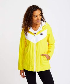 Give your wardrobe a comfy warm up with this color block jacket to define your athleisure style. Rain Jacket, Bomber Jacket, Athleisure Fashion, Lemonade, Color Blocking, Hoods, Hooded Jacket, Chevron, Tommy Hilfiger