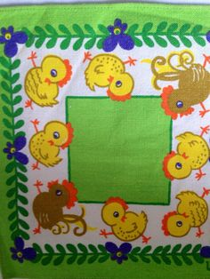 Sweet, little 60s vintage easter mid century tablecloth. Retro pattern with chickens. Made in Sweden. kr60.00, via Etsy.
