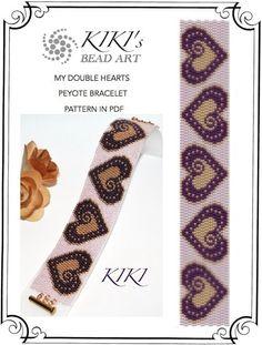 Peyote pattern for bracelet - My double hearts peyote bracelet cuff PDF pattern instant download