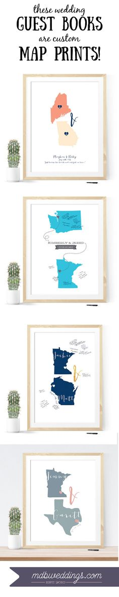 LOVE these map guest book alternative that can be customized with any states or countries!