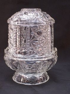 Indiana Glass Fairy Lamp Votive Candle Holder Clear Stars and Bars by GarageSaleGlass, $22.99