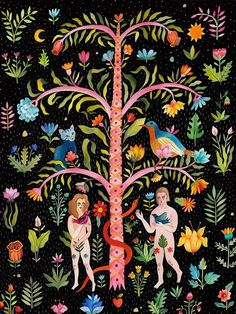 Aitch, Folk painterly illustration of adam and eve garden Art And Illustration, Illustration Agency, Botanical Illustration, Illustrations Posters, Watercolour Illustration, Frida Art, Illustration Botanique, Pattern Sketch, Ouvrages D'art
