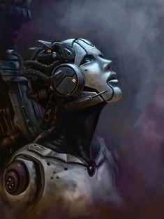 Solice Rising by Bob Garvin, cyberpunk, robot girl, cyborg, futuristic, android, sci-fi, science fiction, cyber girl, digital art