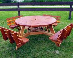 Build Your Own Octagon Picnic Table Octagon Picnic Table, Round Picnic Table, Picnic Table Bench, Patio Tables, Wood Yard Art, Barn Wood Crafts, Log Furniture, Garden Table, Rustic Table