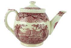 1940s Mason's Vista Pink Teapot