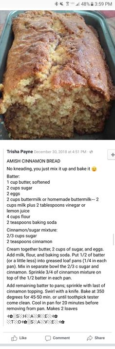 Amish Cinnamon bread...no knead Amish Bread, Cinnamon Bread, Cinnamon Rolls, Amish Recipes, Sweet Recipes, Bread Machine Recipes, Bread Recipes, Cake Recipes, Baking Recipes