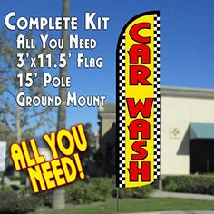 Car Wash YellowCheckered Windless Feather Banner Flag Kit Flag Pole  Ground Mt *** Check this awesome product by going to the link at the image.