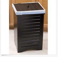 Indoor Wooden Kitchen Garbage Trash Can Bin with Lid Can Decorative Wastebasket!