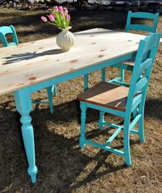 Antique farm table painted in a indago blue chalk paint. and each chair is different, and has a story of it's own. RESERVED The first three pictures are the new table in the works. Antique Farm Table, Farmhouse Table, Cute Furniture, Beach House Decor, Home Decor, Country Living, Dining Chairs, Sweet Home, Farm Tables