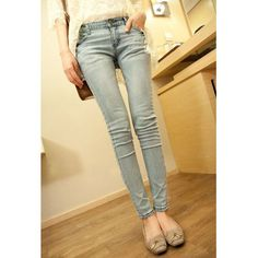 Light Color Slimming Simple Style Packet Buttock Women's Jeans, AS THE PICTURE, 26 in Denim & Jeans | DressLily.com