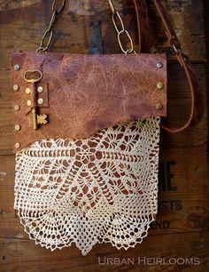 Boho Festival Bag by Urban Heirlooms https://www.etsy.com/listing/156505212 #crochet #lace #leather #key #rustic #countrygirl #gypsy #shabby