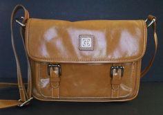Giani Bernini Glazed Leather Shoulder/Crossbody Purse Yellow/Mustard Silver Trim #GianiBernini #ShoulderBagorCrossbody
