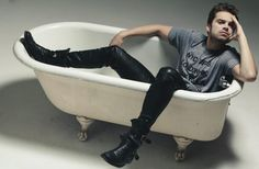 Jefferson Sebastian Barnes - Because only Jefferson would lounge in a bathtub dressed as Sebastian.  Except those boots.  Look at those boots.  They scream Mad Hatter.