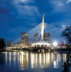 Night view of the Esplanade Riel Pedestrian Bridge. Canadian Things, Canadian Travel, O Canada, Largest Countries, Rest Of The World, Continents, Beautiful World, Places To See, National Parks