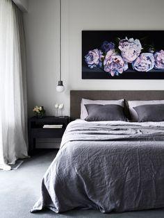 Master bedroom with 'Hydrangeas' painting by Venita Burns