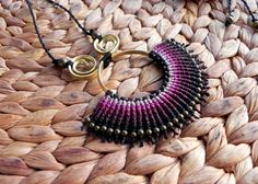 Macrame necklace with brass wire and brass beads boho by QuetzArt