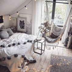 Teen Room Design Ideas Modern And Stylish. If you're searching for teen bedroom ideas, think about what your teen loves and see their bedroom. Dream Rooms, Dream Bedroom, Home Bedroom, Teen Bedroom Chairs, Teen Music Bedroom, Swing In Bedroom, Rustic Teen Bedroom, Bedroom Decor Boho, Bedroom Hammock