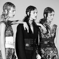 Behind the scenes of the #PradaFW16 campaign, starring a powerful ensemble cast of 27 women. Lexi Boling, Vittoria Ceretti and Amanda Googe in collaged looks defined at the waist by corsetry, symbolizing the feminine strength of the collection. #Prada #BTS