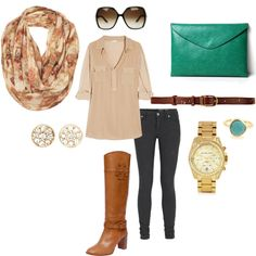 My first polyvore outfit-- And I really, really want it!  Caramel, rose, gold and teal.  Yes yes yes!