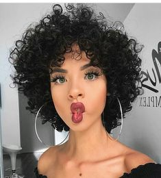 12 inches Full Lace India Human Hair Short Curly Wig Human Hair Wigs BabalaHair is part of Short curly wigs - Short Curly Hairstyles For Women, Curly Hair Styles, Short Curly Wigs, Kinky Curly Hair, Curly Hair Cuts, Short Hair Cuts, Wig Hairstyles, Straight Hairstyles, Natural Hair Styles
