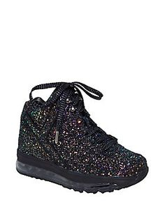 Light up the dance floor // Y.R.U. Qozmo Black Glitter Light Up High Top Sneakers
