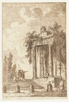 Hubert Robert | Trap met de vier grenspalen, Hubert Robert, 1763 | Een groepje mensen bij een trap naast een overgroeide ruïne van een Romeins gebouw. Vierde prent uit een serie van tien.