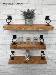 Rustic Industrial Handmade Floating Shelves Shelf Solid Wood – HOME – Living Room. Cheap Home Decor, Diy Home Decor, Room Decor, Wall Decor, Decoration Crafts, Regal Design, Küchen Design, Interior Design, Design Ideas