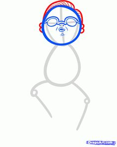 how to draw psy, gangnam style step 4