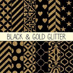 Black & Gold Glitter Patterns  Instant Download  by babushkadesign