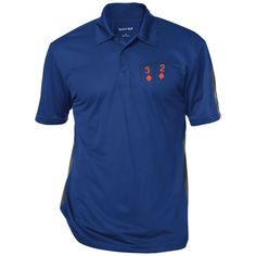 Performance Textured Three-Button Polo (3d 2d on front)
