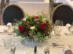 A low table arrangement for a Christmas wedding Gardenia Wedding Flowers, Table Centers, Low Tables, Funeral Flowers, Table Arrangements, Christmas Wedding, Wedding Events, Table Decorations, Floral