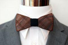 Crisscross Wood Bow Tie