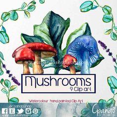 Watercolor Mushrooms Clip Art Set, Digital Mushroom Clipart, Fungi Watercolors…
