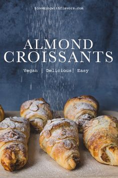 Vegan Baking Recipes, Vegan Dessert Recipes, Vegan Breakfast Recipes, Vegan Sweets, Quick Vegan Breakfast, Cake Recipes, Almond Pastry, Vegan Pastries, Almond Croissant