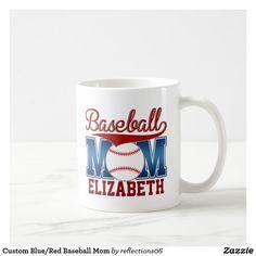 Custom Blue/Red Baseball Mom Coffee Mug