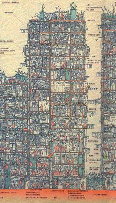 Kowloon Walled City cross-section view