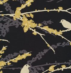 Joel Dewberry Fabric /  Sparrows in Cavern / Aviary 2 /  Cotton Quilt Fabric 1 yard