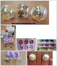 cute knobs for several uses. For her moulds, she used silicone cup cake trays . Epoxy Resin Art, Diy Resin Art, Diy Resin Crafts, Diy Furniture Hardware, Resin Furniture, Furniture Handles, Easy Crafts To Make, Diy And Crafts, Decor Crafts