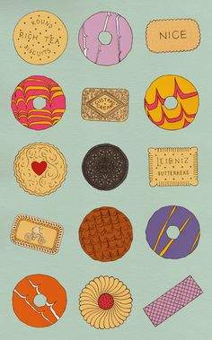 illustrated biscuits by Ailsa Burrows Food Patterns, Print Patterns, British Biscuits, Rich Tea Biscuits, Food Drawing, Cookie Drawing, Cookies Et Biscuits, Food Illustrations, Confectionery